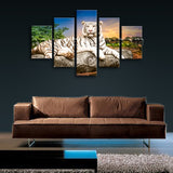 Large White Tiger Wall Art Painting Photography Dining Room Five Panels Prints