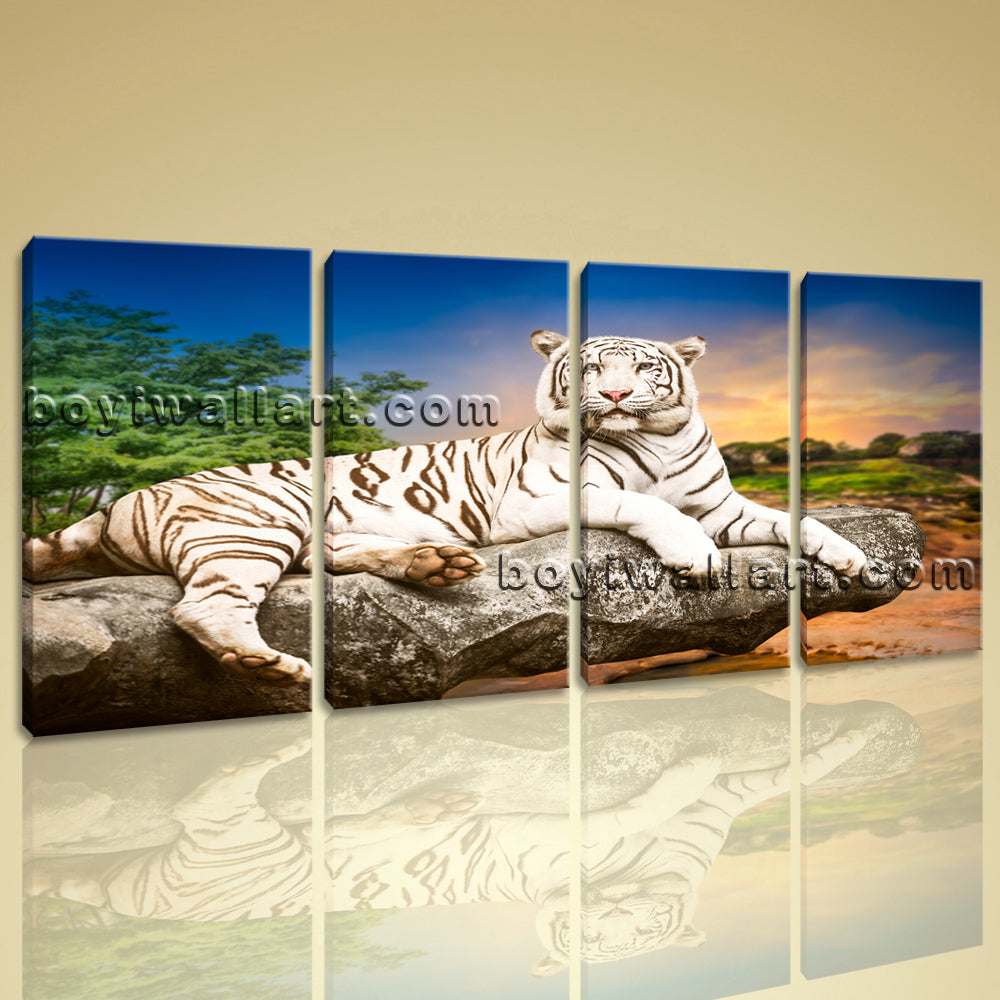 Large White Tiger Wall Art Decor Oil Painting Bedroom Tetraptych Panels Prints