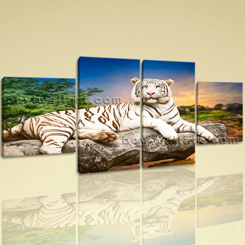 Large White Tiger Wall Art Print Painting Dining Room Tetraptych Panels Canvas