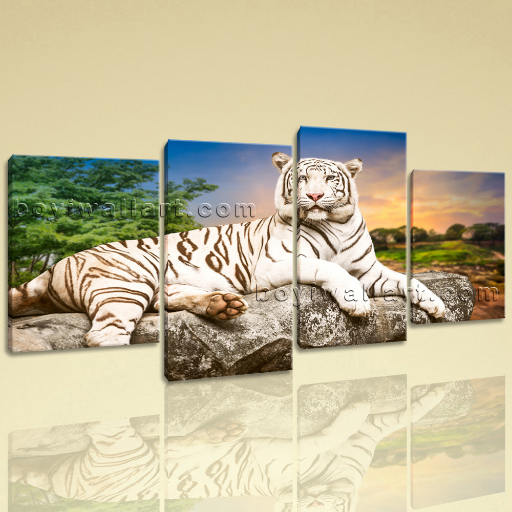 large white tiger wall art painting on canvas living room four
