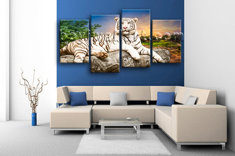 Large White Tiger Wall Art Painting On Canvas Living Room Four Pieces Print