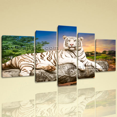 Extra Large White Tiger Wall Art Print Painting Pentaptych Pieces Canvas