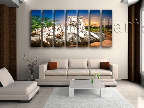 Extra Large White Tiger Wall Art Painting Living Room Heptaptych Pieces Prints