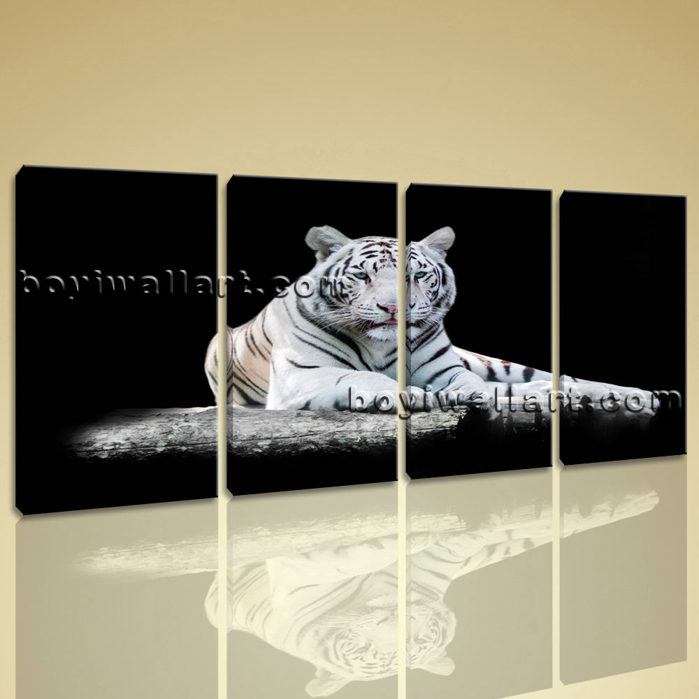Large Black And White Tiger Wall Decor Photography Bedroom 4 Panels ...