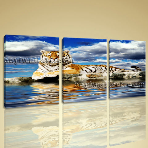 Large Tiger Wall Art Picture Home Decor Living Room Three Pieces Print