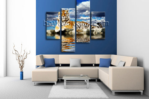 Large Tiger Wall Art Print Photography Home Decor Bedroom Four Panels Canvas