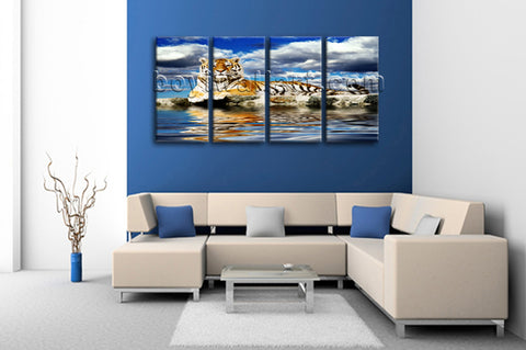 Large Tiger Wall Art Hd Print Photography Oil Painting Bedroom 4 Panels