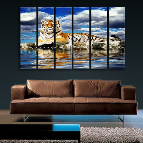 Large Tiger Wall Art Photography Painting Living Room 6 Pieces Print