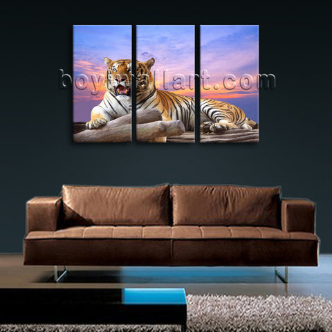 Large Tiger Wall Art Decor Photography Bedroom Triptych Panels Giclee Print