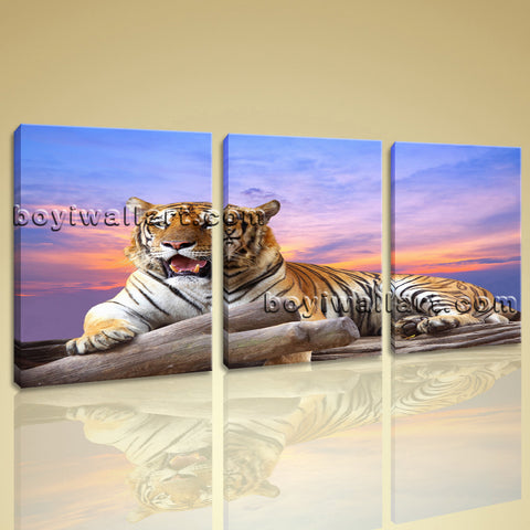 Large Tiger Wall Art Painting On Canvas Living Room Triptych Panels Prints