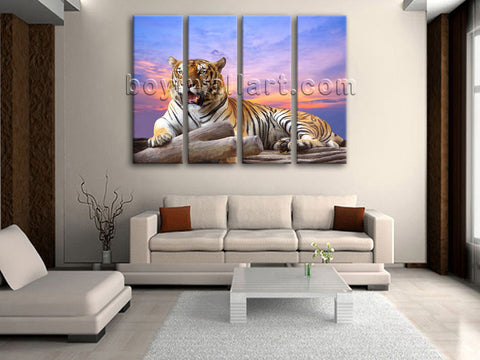 Large Tiger Wall Art Photography Oil Painting Living Room Four Panels Prints