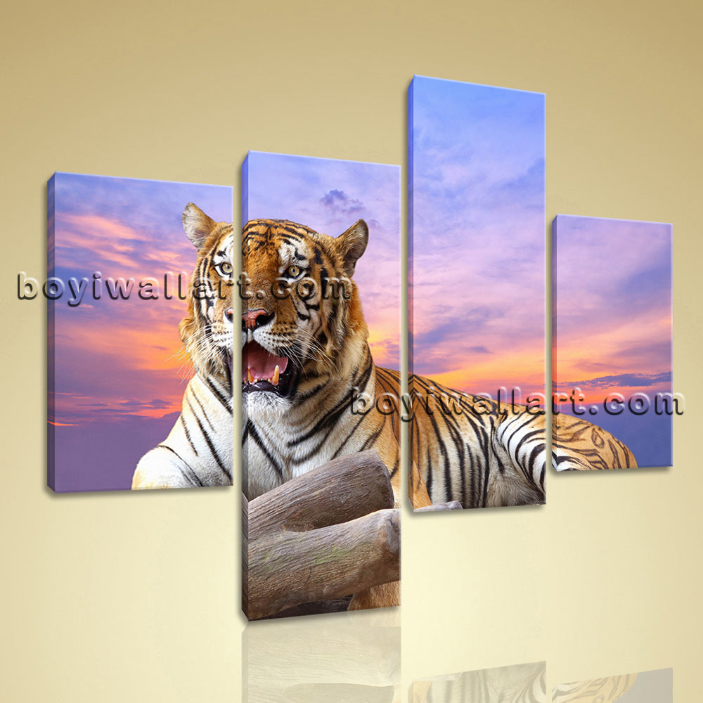 Large Tiger Wall Art Hd Print Photography Oil Painting Bedroom 4 Pieces