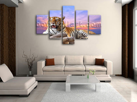 Large Tiger Wall Art Picture Dining Room Pentaptych Pieces Canvas Print