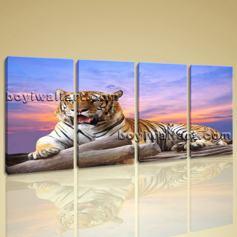 Large Tiger Wall Art Picture Photography Decor Bedroom Tetraptych Pieces Print