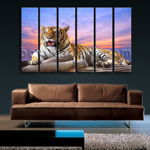 Large Tiger Wall Art Picture Photography Canvas Living Room 6 Panels Prints