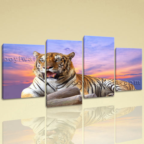 Large Tiger Wall Art Photography Painting Living Room Four Pieces Print