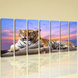 Extra Large Tiger Wall Art Print Painting Living Room Heptaptych Pieces Prints