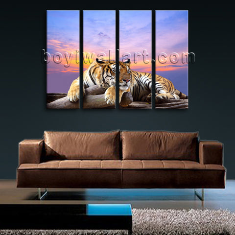 Large Tiger Wall Art Picture Photography Painting Living Room Four Panels Print