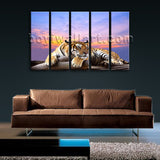 Large Tiger Wall Art Print Photography Dining Room Pentaptych Pieces