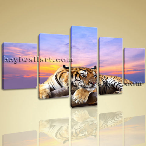 Large Tiger Wall Art Print Home Decor Dining Room Pentaptych Pieces Canvas