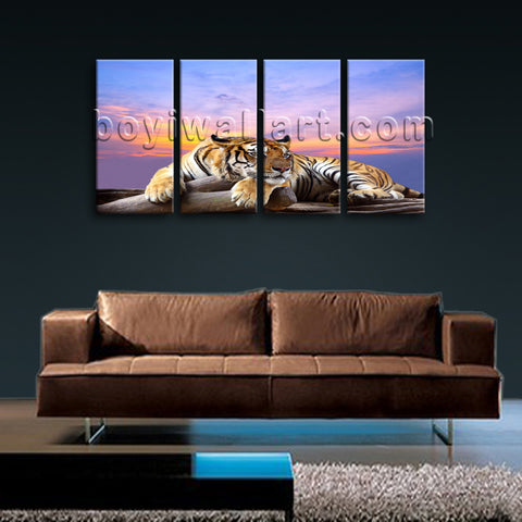 Large Tiger Wall Art Painting Photography Bedroom 4 Panels Print
