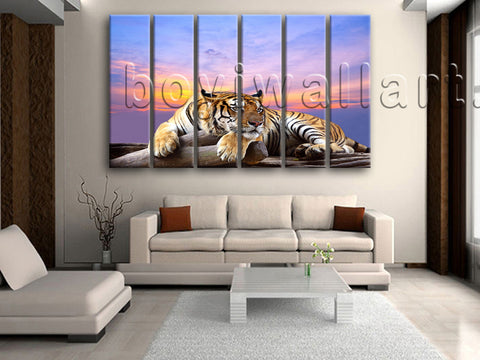 Large Tiger Wall Art Print Photography Home Decor Living Room Six Panels Prints