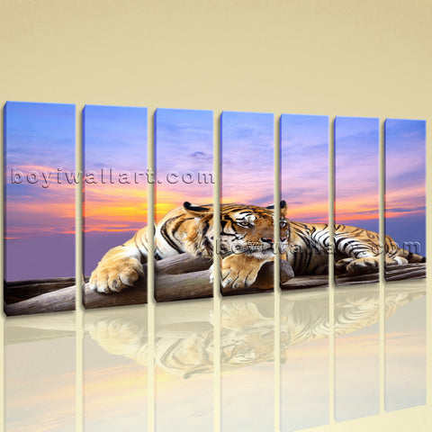 Extra Large Tiger Wall Art Painting Photography Decor Living Room 7 Panels Print