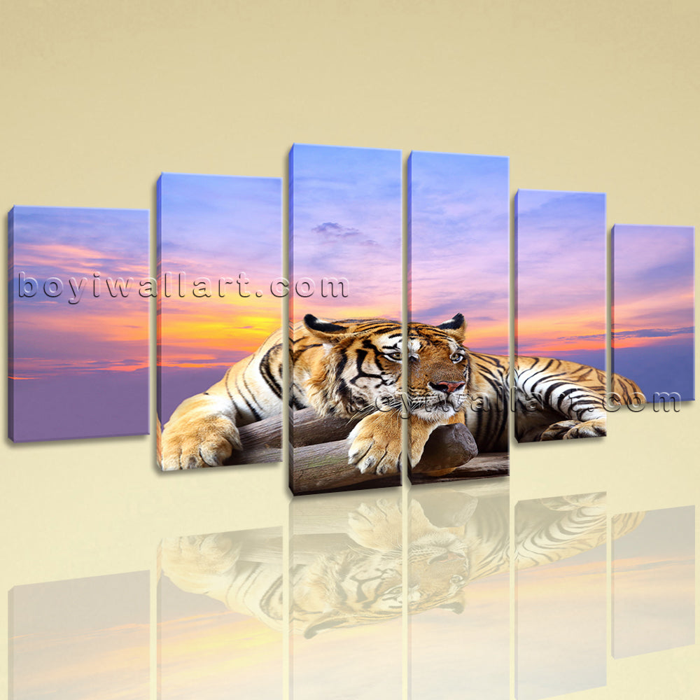 Extra Large Tiger Wall Art Photography Canvas Dining Room 6 Pieces Giclee Prints