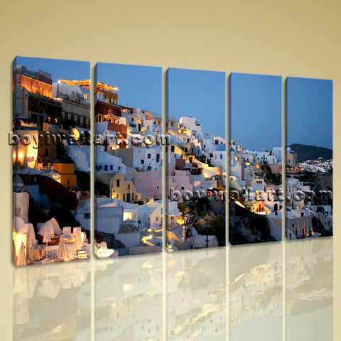 Large Santorini Houses Landscape Print Photography Wall Art Dining Room 5 Pieces