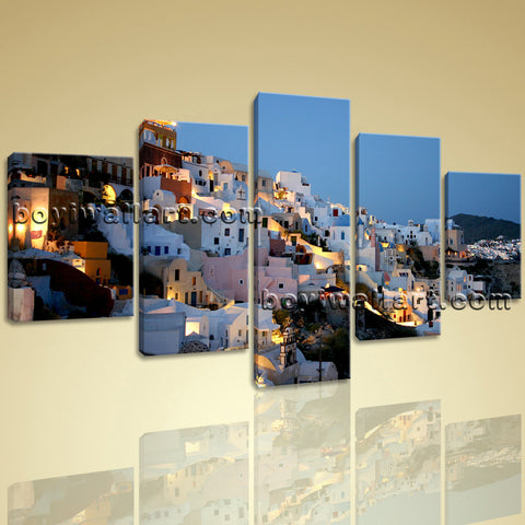 Large Santorini Houses Landscape Picture Wall Decor Dining Room Art Print