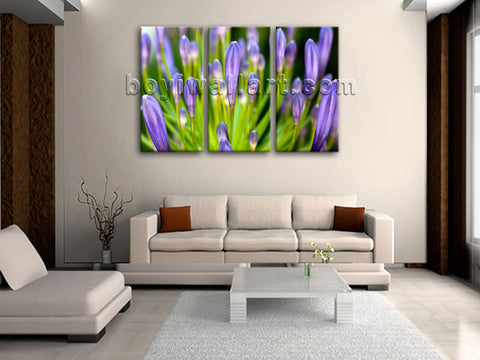 Large Rain Drop Natural Leaf Floral Wall Art Painting Triptych Panels Print