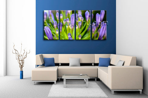 Large Rain Drop Natural Leaf Floral Print Canvas Art Tetraptych Panels Giclee