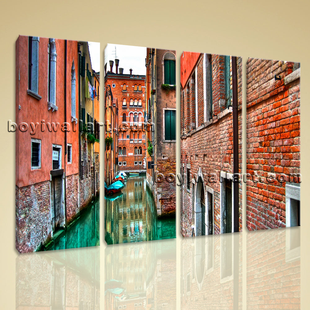 Large Venice Shore Canvas Art Photography Painting Living Room Four Pieces Print