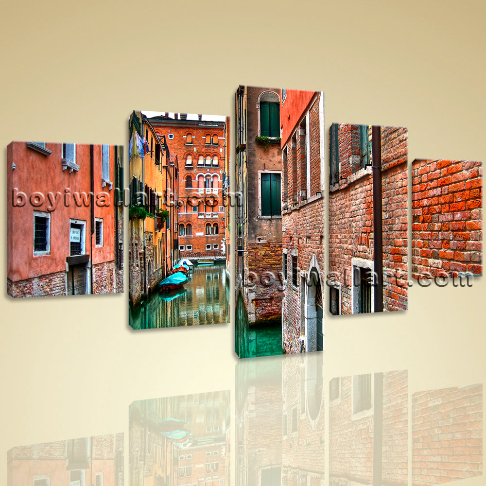 Large Venice Shore Hd Print Photography Canvas Art Dining Room Pentaptych Panels
