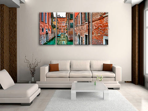 Large Venice Shore Canvas Art Photography Wall Bedroom Tetraptych Panels Print