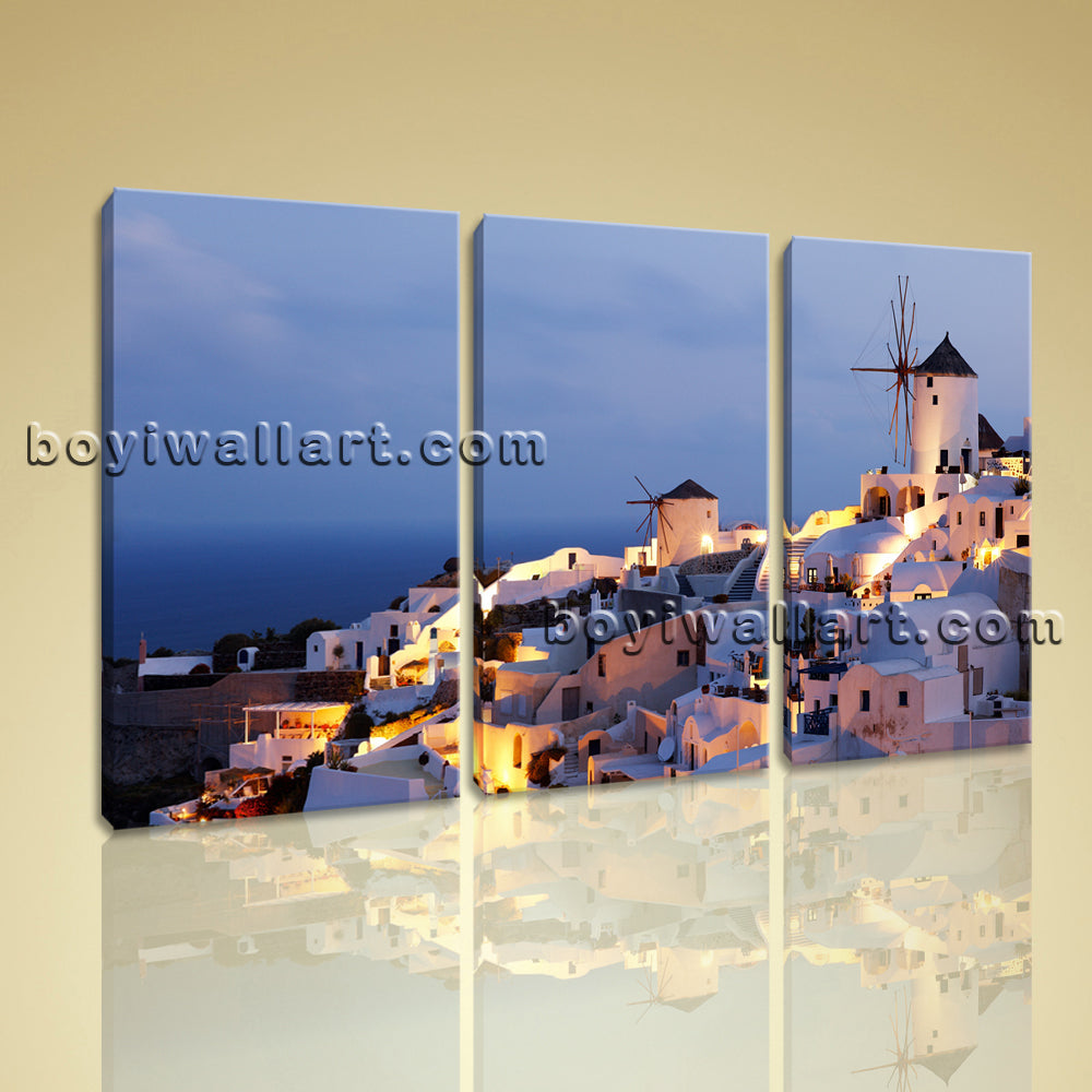 Large Santorini Modern Greek Thira Landscape Wall Art Home Decor Print