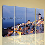 Large Santorini Modern Greek Thira Landscape Wall Art Home Decor 4 Panels Prints