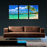 Large Tropical Beac Hbeach Painting Wall Decor Three Pieces Canvas Print