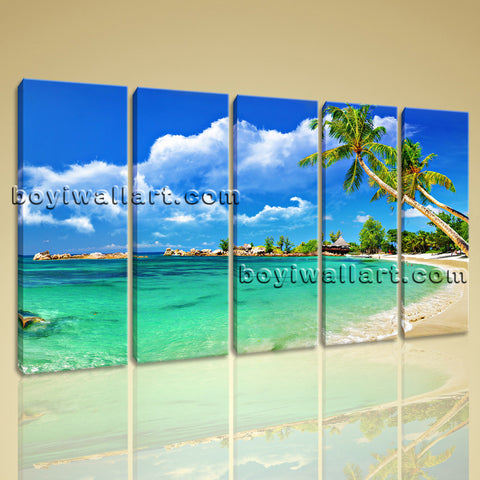 Large Tropical Beac Hbeach Print Photography Home Decor Dining Room 5 Panels