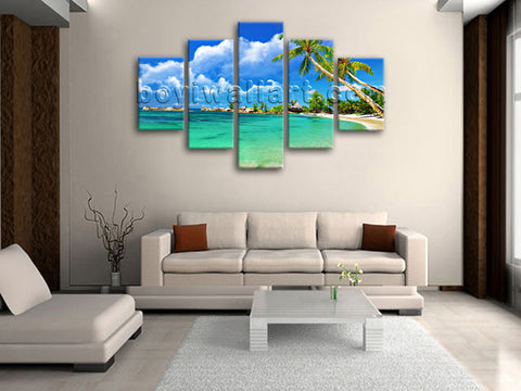 Large Tropical Beac Hbeach Hd Print Home Decor Dining Room Canvas