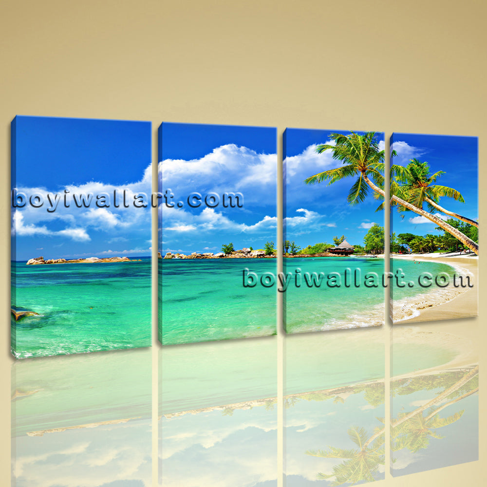 Large Tropical Beac Hbeach Print Painting On Canvas Bedroom Tetraptych Panels