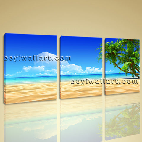 Large Tropical Beac Hpalm Tree Wall Art Painting Living Room 1 Panels Prints