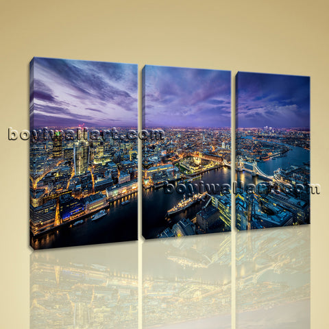Large London Skyline Canvas Art Oil Painting Bedroom Triptych Panels Prints