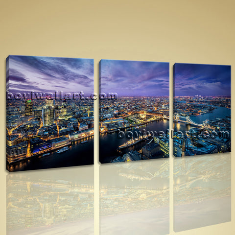 Large London Skyline Wall Art Contemporary Living Room 1 Panels Print