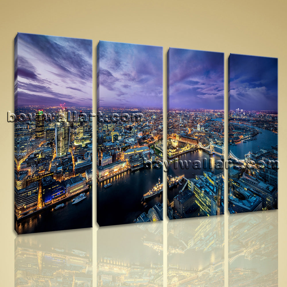 Large London Skyline Wall Decor Contemporary Painting On Canvas Print