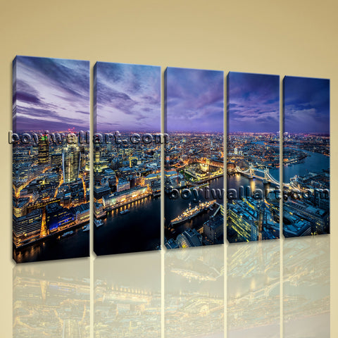 Large London Skyline Hd Print Contemporary Oil Painting Dining Room Art