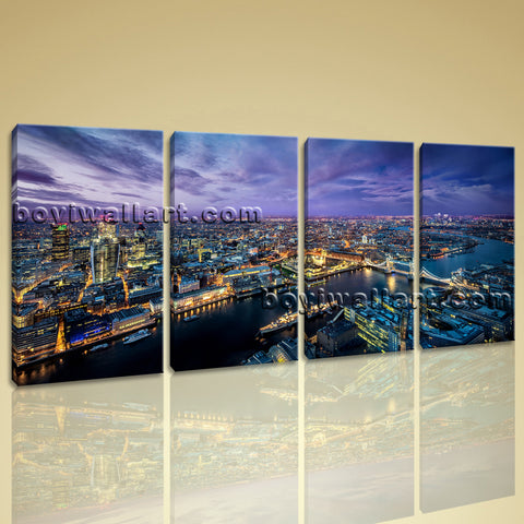 Large London Skyline Canvas Art Contemporary Painting Bedroom 4 Pieces Print