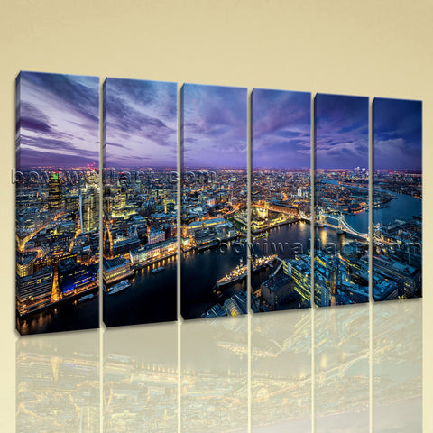 Large London Skyline Wall Art Contemporary Canvas Living Room 6 Pieces Prints
