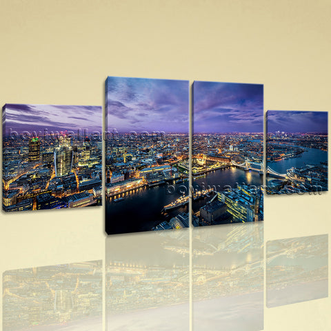 Large London Skyline Print Contemporary Canvas Art Dining Room 4 Pieces