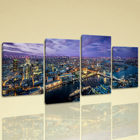 Large London Skyline Hd Print Contemporary Wall Decor Living Room 4 Pieces Art